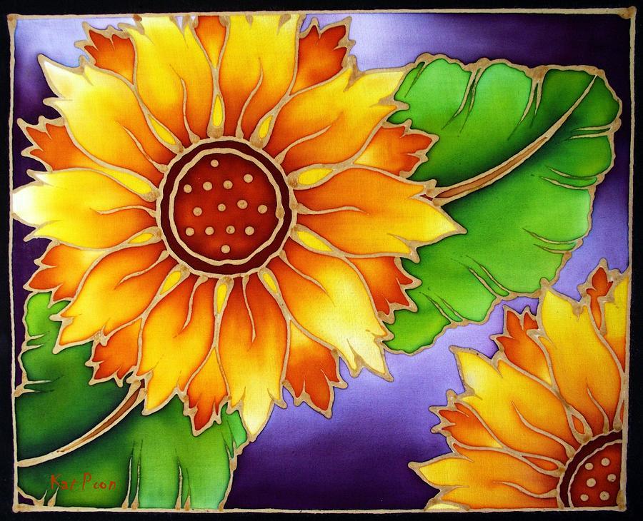 Batik Painting - Batik Sunflower by Kat Poon