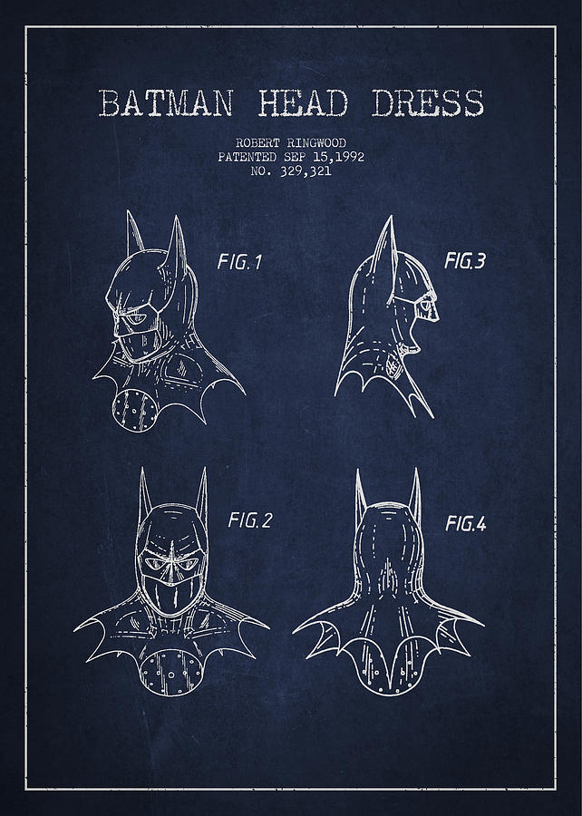 Batman Head Dress Patent Drawing Drawing