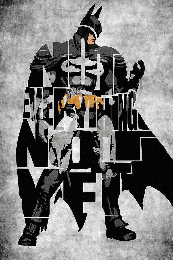 Batman Inspired Typography Poster Drawing  - Batman Inspired Typography Poster Fine Art Print