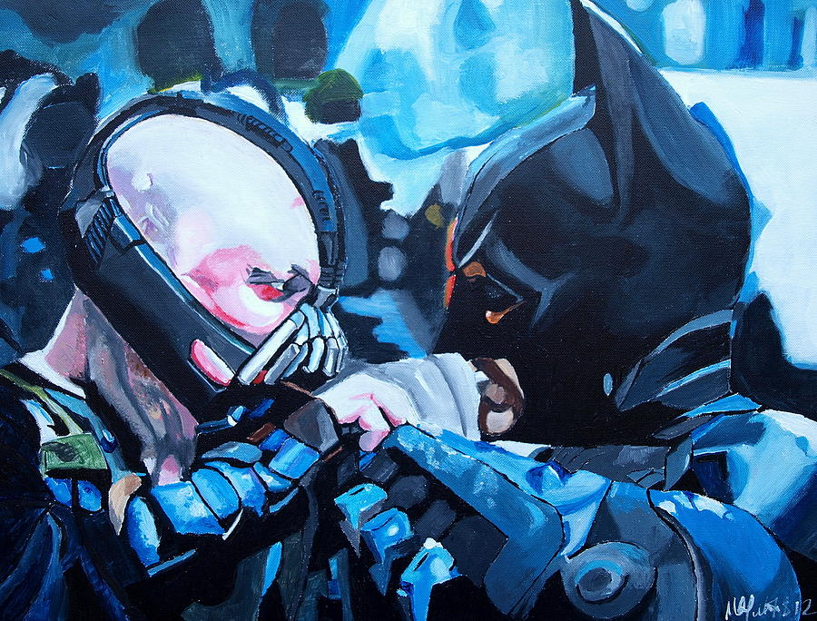 Batman Vs Bane Painting  - Batman Vs Bane Fine Art Print