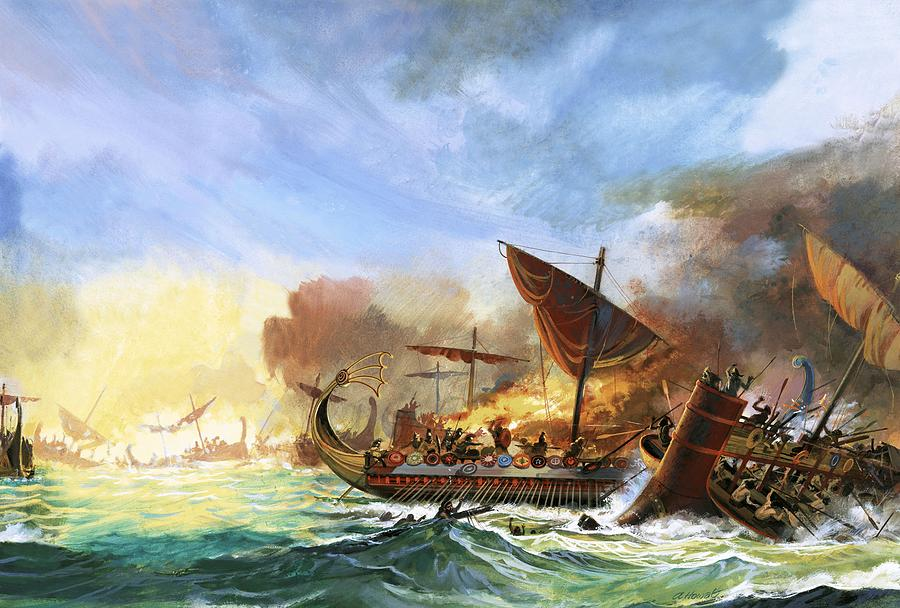 Battle Of Salamis Painting by Andrew Howat