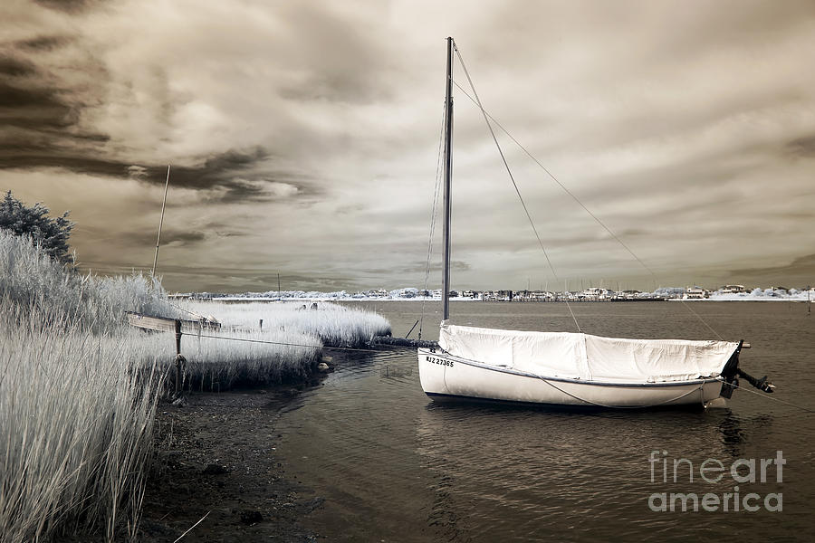Bay Boat Brown Infrared Photograph