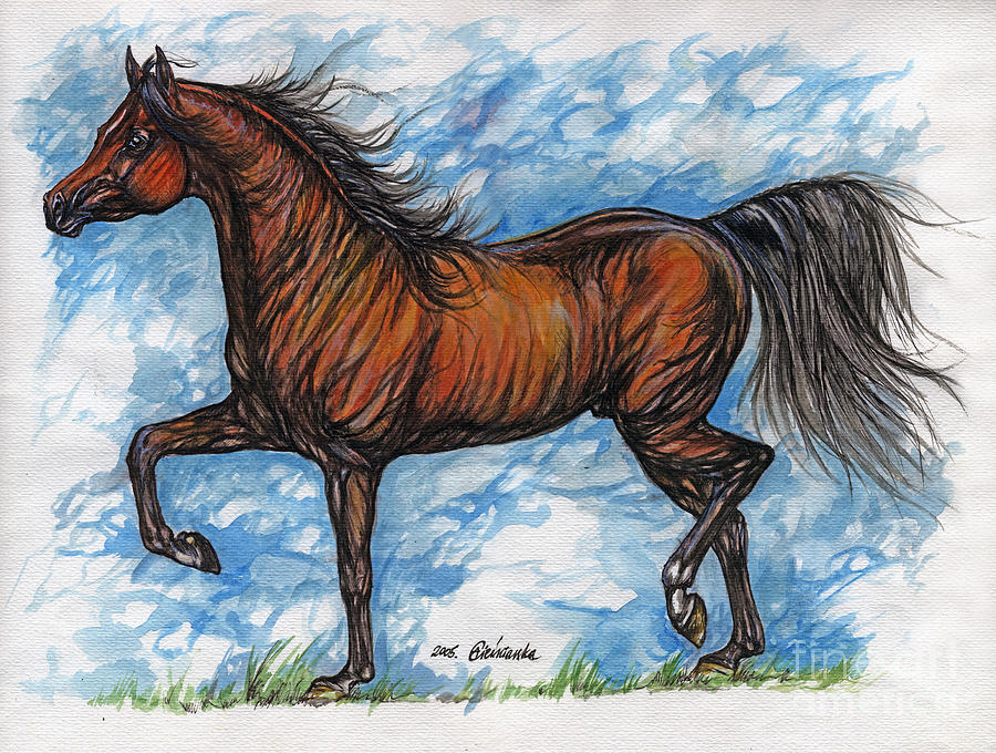 Bay Horse Running Painting