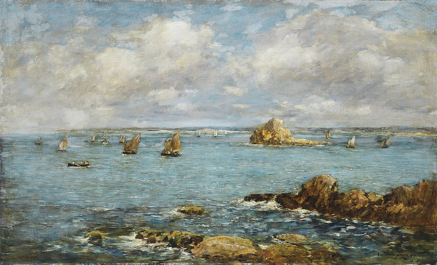 Bay Of Douarnenez Painting by Eugene Louis Boudin