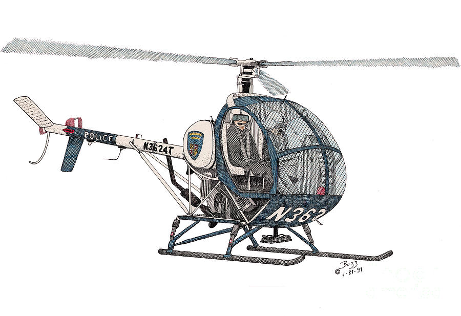 Bcpd Helicopter Drawing  - Bcpd Helicopter Fine Art Print