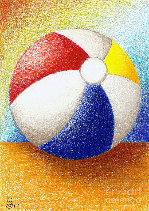 Beach Ball Drawing  - Beach Ball Fine Art Print