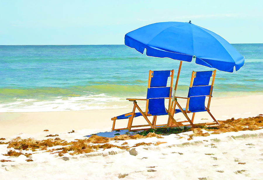 Beach chair with umbrella painting - Beach Chairs And Umbrella Painting By Elaine Plesser