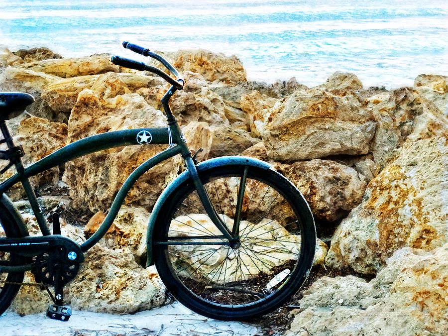 Beach Cruiser - Bicycle Art By Sharon Cummings Painting  - Beach Cruiser - Bicycle Art By Sharon Cummings Fine Art Print
