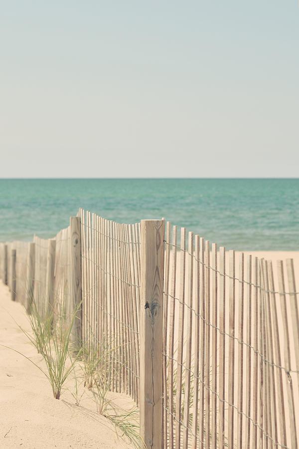 Beach Photograph - Beach Fence Ocean Shabby Photograph by Elle Moss