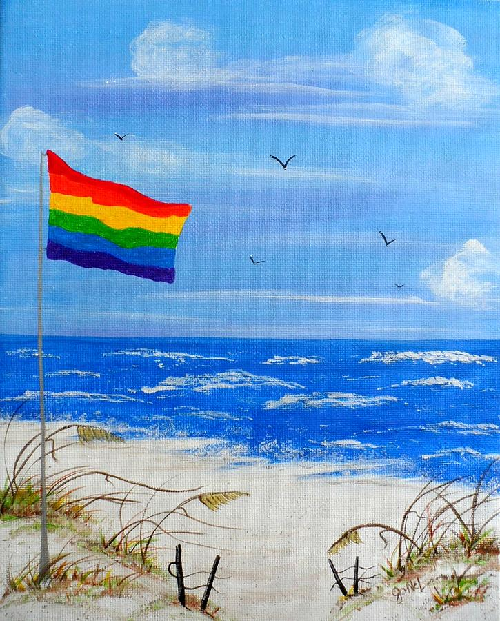 Beach Flag Painting  - Beach Flag Fine Art Print