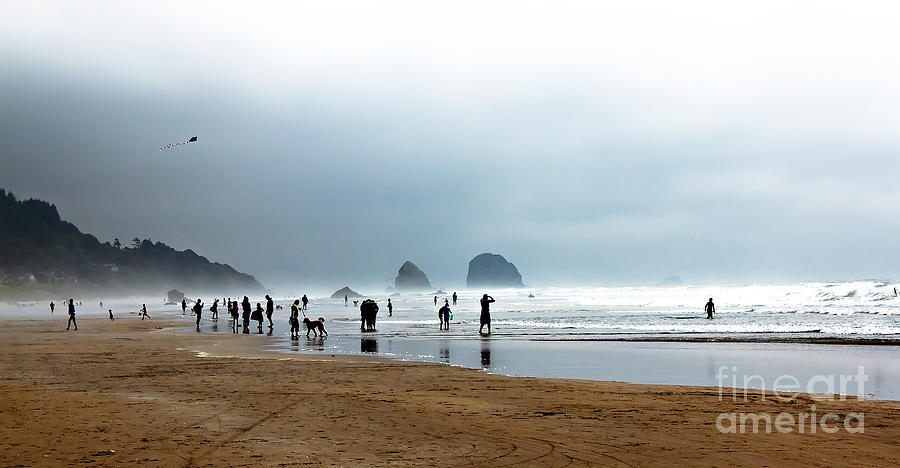 Oregon Coast. Seascape Photograph - Beach Fun At Ecola  by Robert Bales