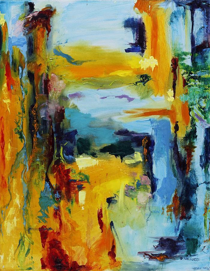 Abstract Painting - Beach Houses by Regina Valluzzi
