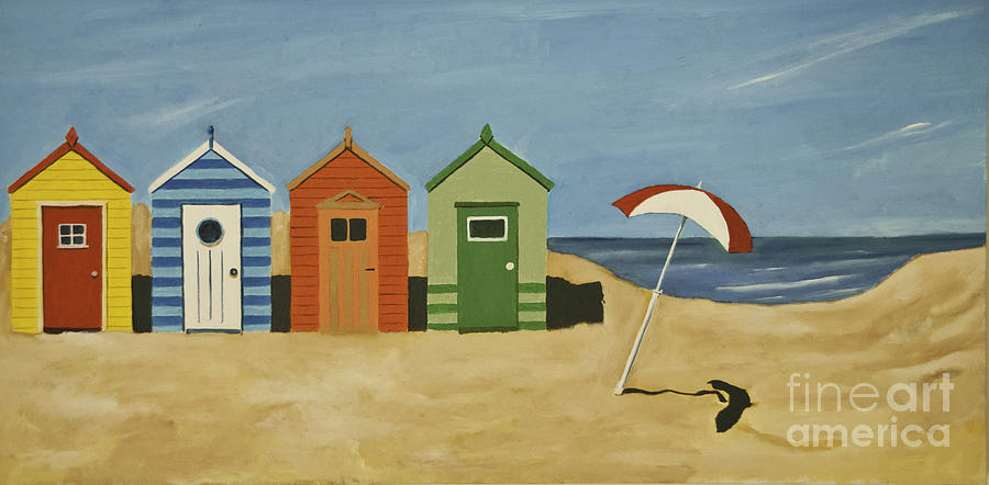 Beach Huts Painting By James Lavott