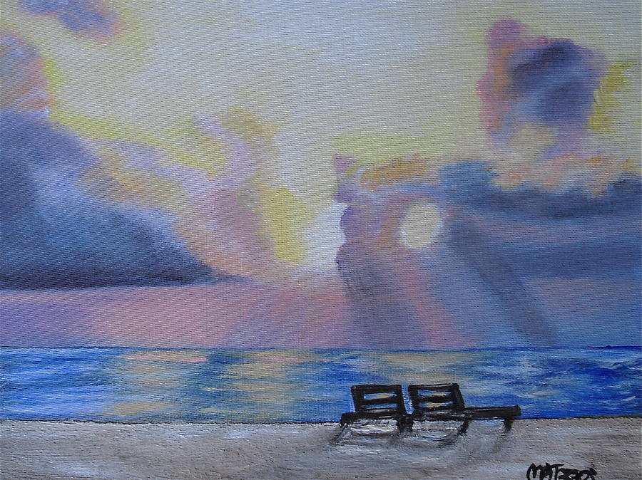 Beach Sunset Painting  - Beach Sunset Fine Art Print