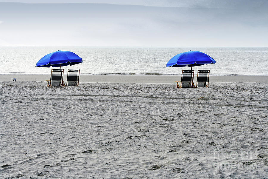 Hilton Head Photograph - Beach Umbrellas On A Cloudy Day by Thomas Marchessault