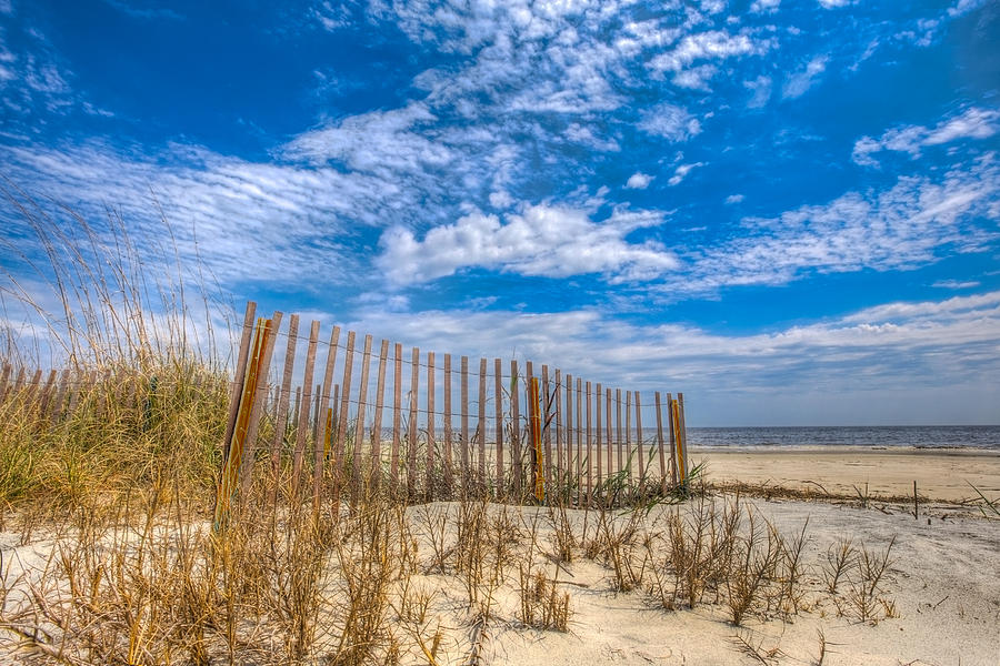 Beach Under Blue Skies Photograph