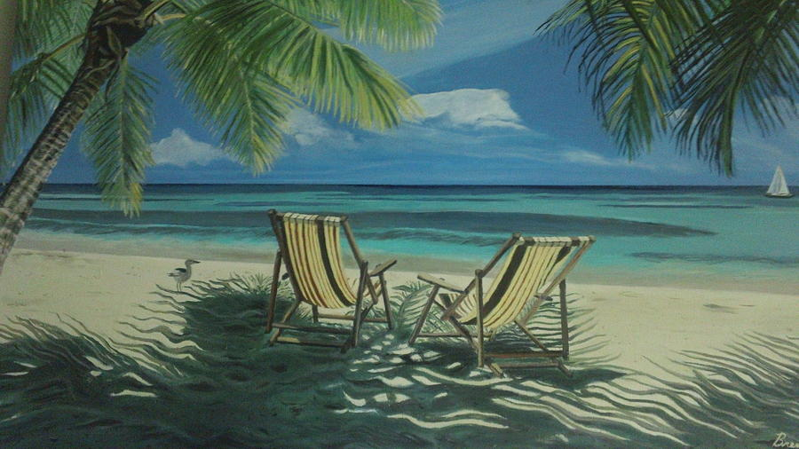 Beach vacation painting by brenda jo for Tropical vacations in december