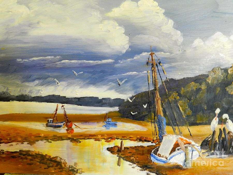 Impressionism Painting - Beached Boat And Fishing Boat At Gippsland Lake by Pamela  Meredith
