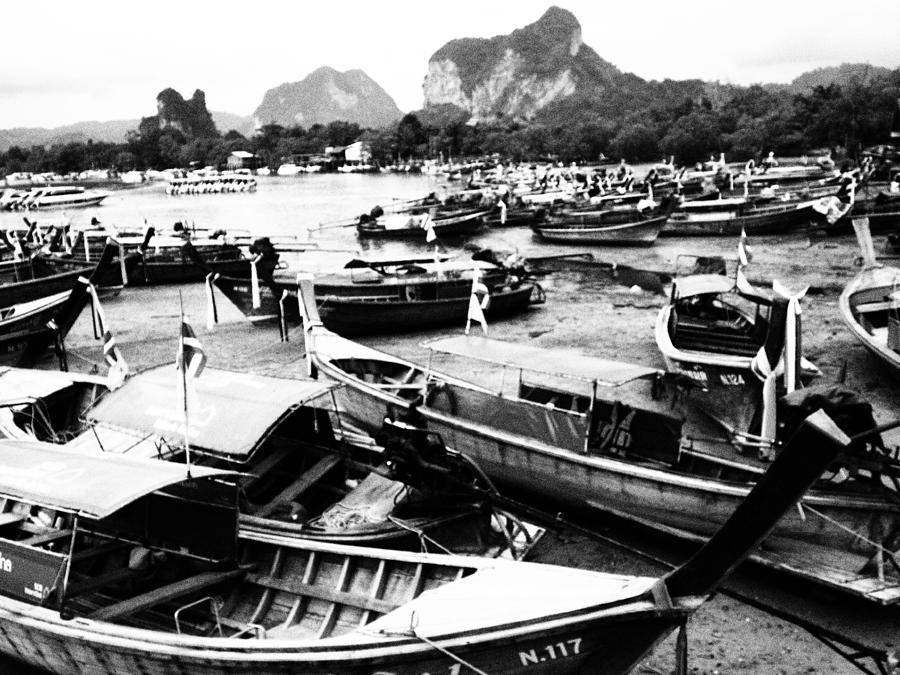 Beached Longboats Photograph