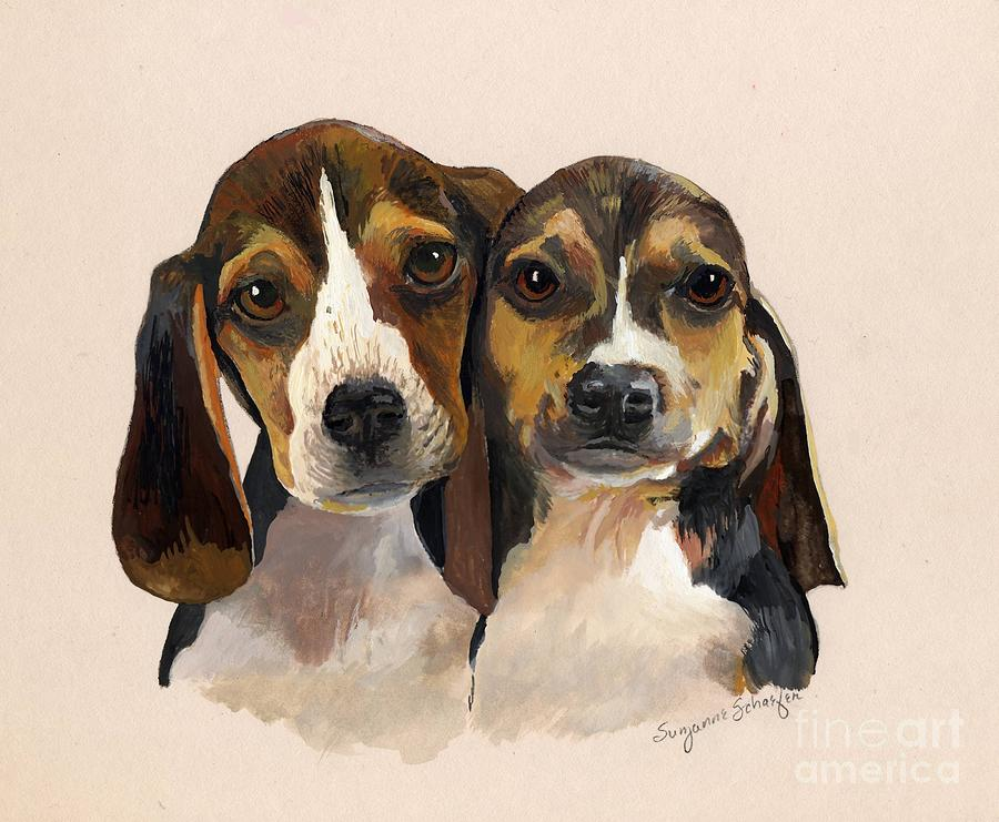 Dogs Painting - Beagle Babies by Suzanne Schaefer
