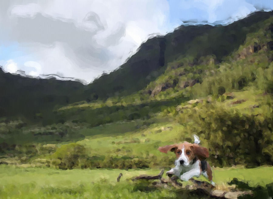 Beagle Love Digital Art  - Beagle Love Fine Art Print