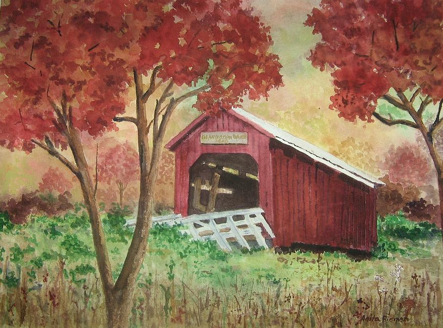 Bean Blossom Covered Bridge Painting - Bean Blossom Covered Bridge by Anita Riemen