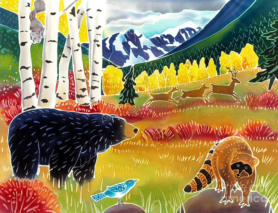Bear Meets Raccoon Painting