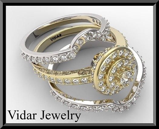 Beautiful 14k Yellow And White Gold Diamond Wedding Ring Set Jewelry