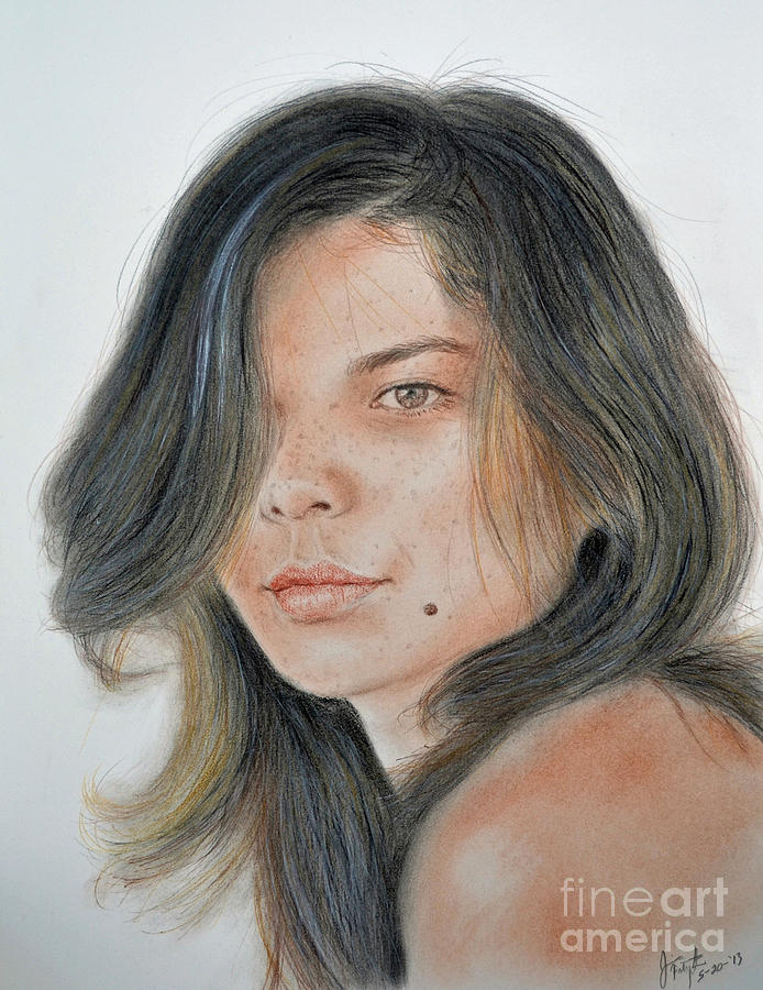 Beautiful And Sexy Actress Jeananne Goossen IIi  Drawing  - Beautiful And Sexy Actress Jeananne Goossen IIi  Fine Art Print