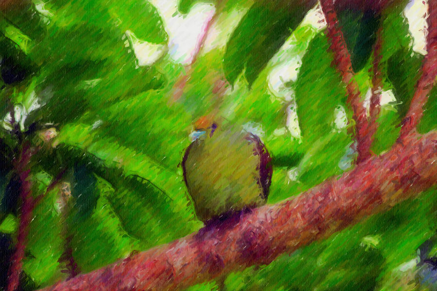 Beautiful Bird On A Branch Painting