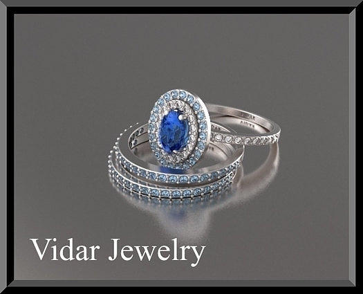 Beautiful Blue Sapphir And Diamonds 14k White Gold Wedding Ring Set Jewelry