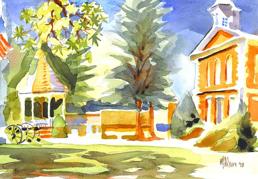 Beautiful Day On The Courthouse Square Painting  - Beautiful Day On The Courthouse Square Fine Art Print