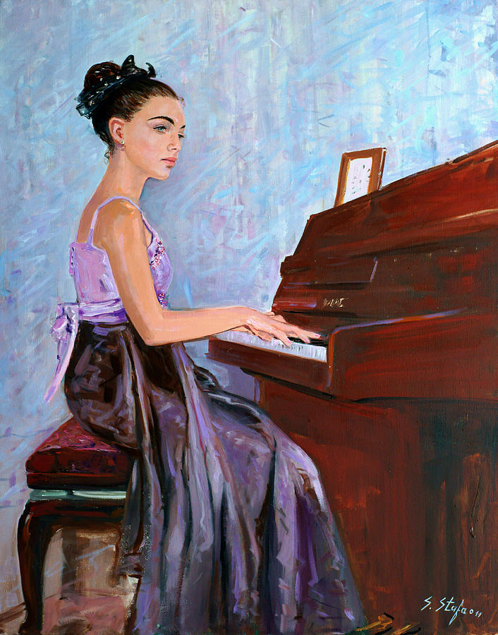 Beautiful Girl Playing Piano Painting by Sefedin Stafa