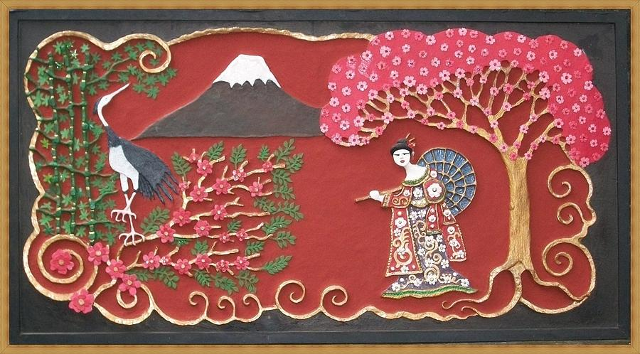 Handmade Papier Mache Mixed Media - Beautiful Japan by Otil Rotcod