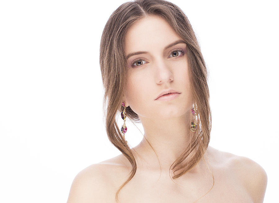 Beautiful Model With Earrings Photograph  - Beautiful Model With Earrings Fine Art Print