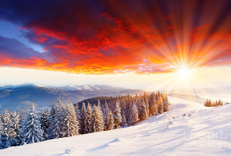 Beautiful Sunset In The Winter Photograph