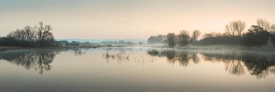 Beautiful Tranquil Mist Over Lake Sunrise Landscape Photograph