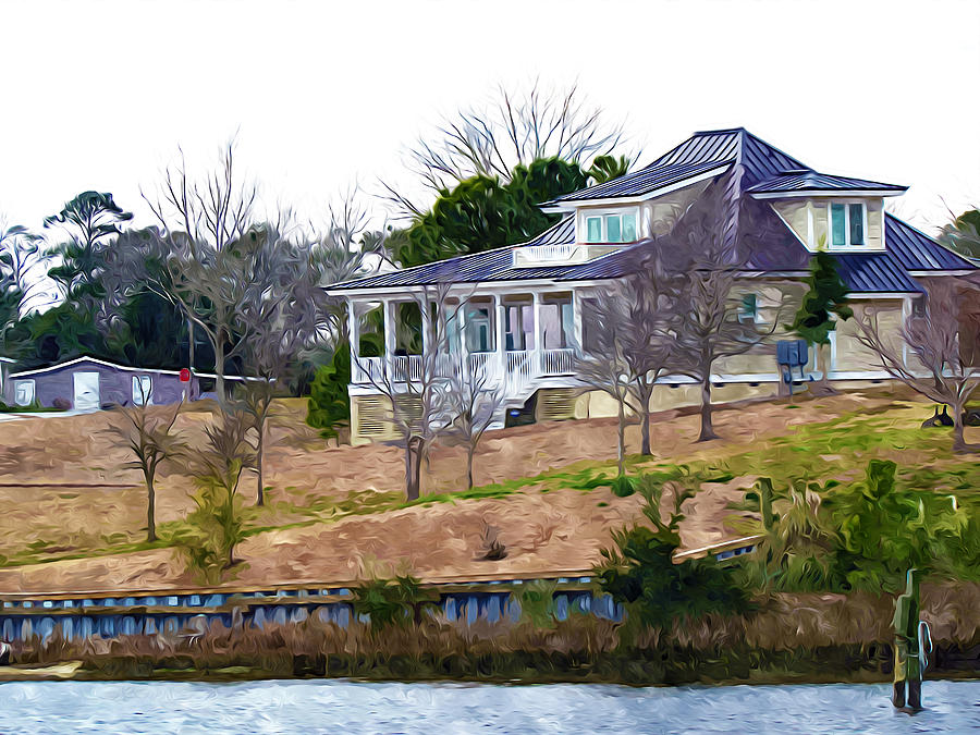 Beautiful waterfront home 5 painting for Beautiful medium houses