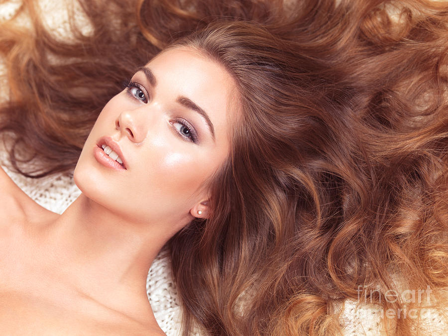 Beauty Photograph - Beautiful Woman With Long Hair Spread Around Her by Oleksiy Maksymenko