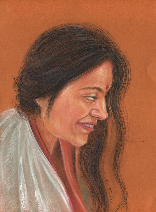 Beautiful Women Pastel - Beautiful Women by Prakash Leuva