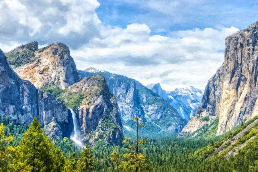 Beautiful Yosemite National Park Painting  - Beautiful Yosemite National Park Fine Art Print