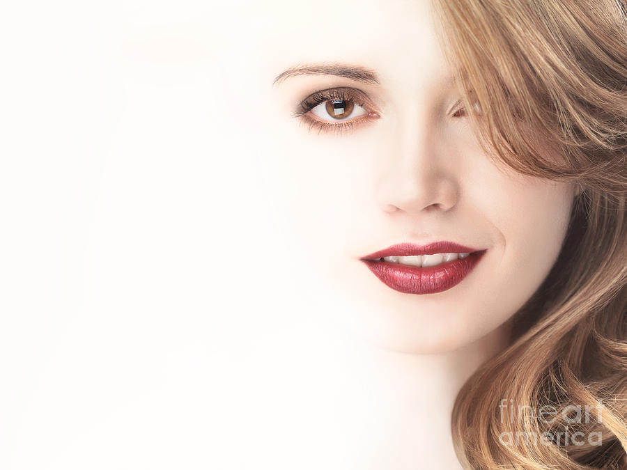 Beautiful Young Woman Face Blending Into Light Background Photograph  - Beautiful Young Woman Face Blending Into Light Background Fine Art Print