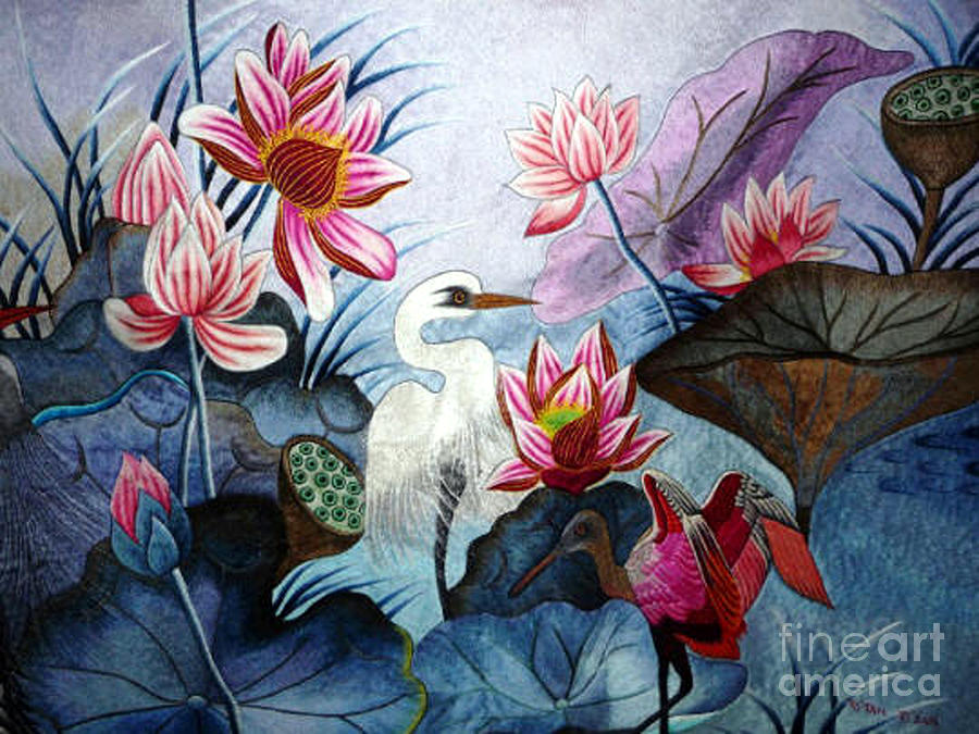 Lotus Tapestry - Textile - Beauty Of The Lake Hand Embroidery by To-Tam Gerwe