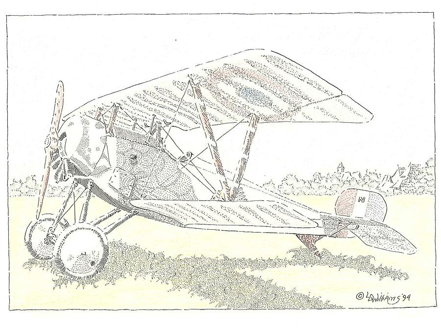French Nieuport 11 Fighter Plane From Early Wwi. Lafayette Escadrille Aircraft In Drawing. Flown By American Volunteer Pilots Who Flew For France Before The U. S. Finally Entered The War.a Beautiful Airplane.  Drawing - Bebe by L D Williams