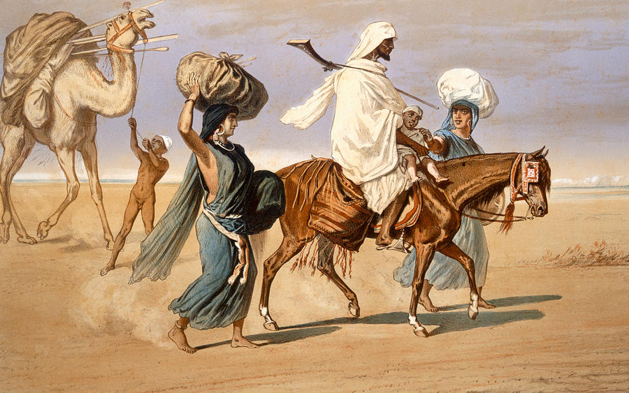 Horse Painting - Bedouin Family Travels Across The Desert by Henri de Montaut
