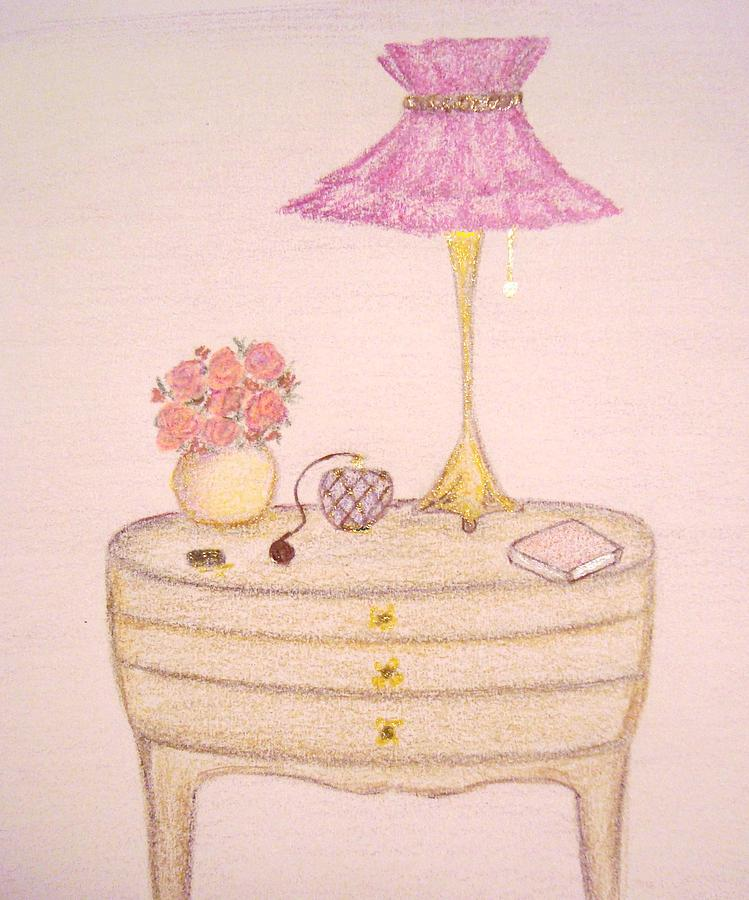 Bed Drawing - Bedside Table by Christine Corretti