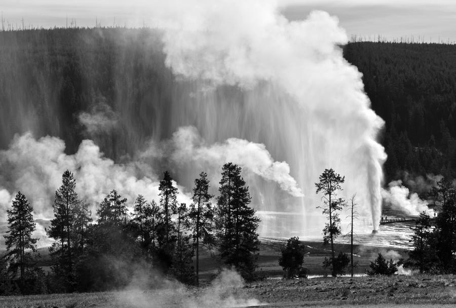 Yellowstone Photograph - Beehive Geyser Shower In Black And White by Bruce Gourley