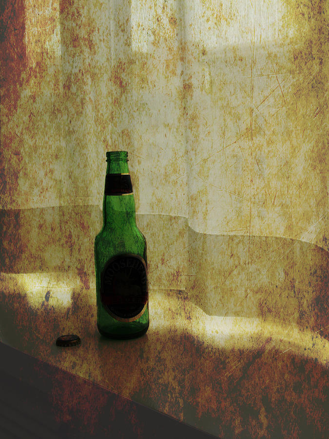 Beer Bottle On Windowsill Photograph