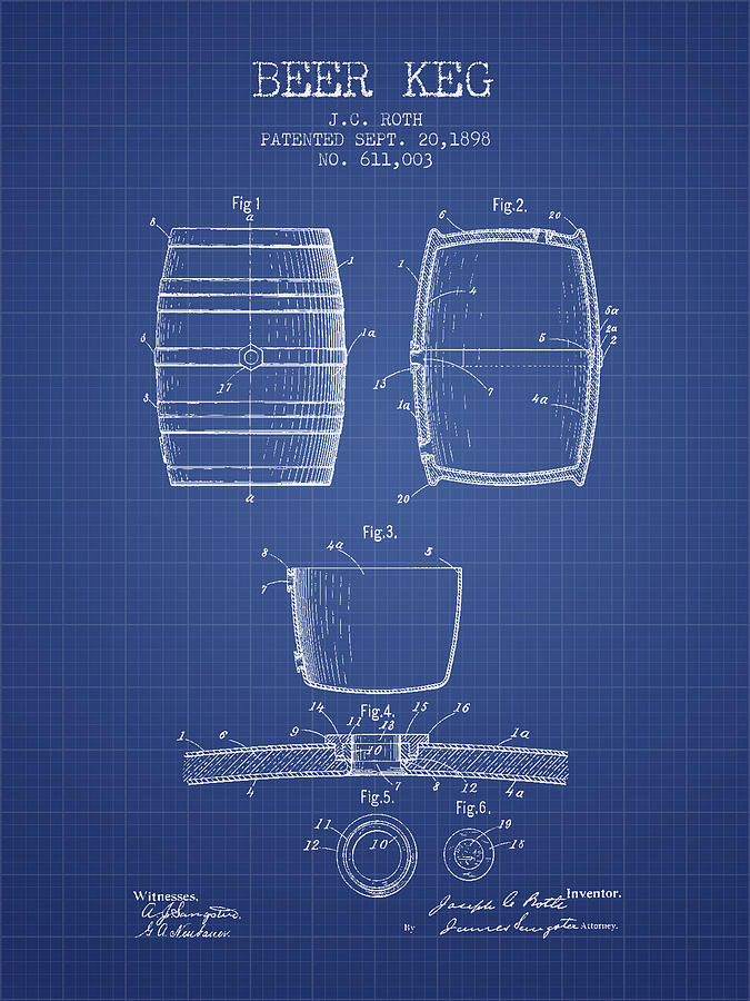 Beer Keg Patent From 1898 Blueprint Drawing By Aged Pixel