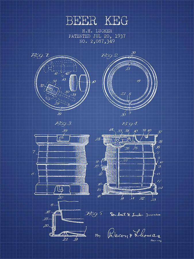 Beer keg patent from 1937 blueprint by aged pixel royalty free beer keg patent from 1937 blueprint digital art malvernweather Choice Image
